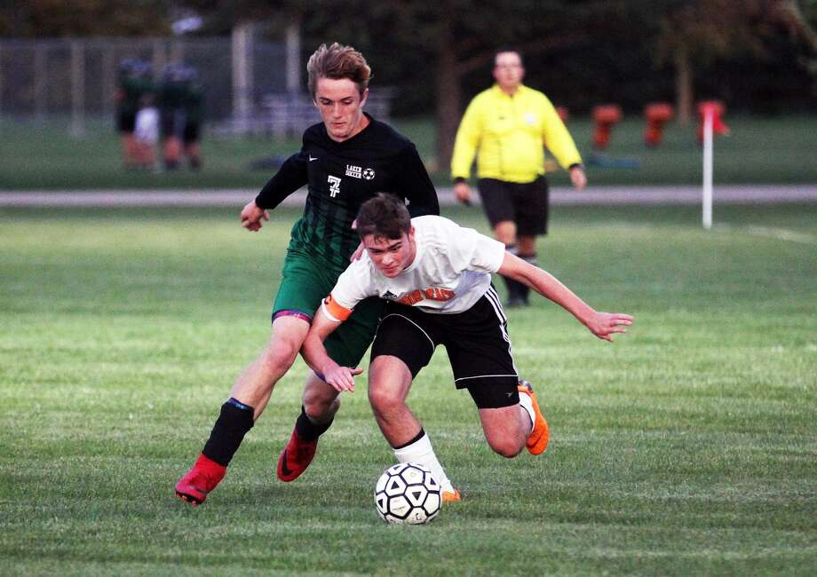 The Elkton-Pigeon-Bay Port Lakers hosted The Harbor Beach Pirates on Monday night. The Pirates edged the Lakers, 2-1. Photo: Mark Birdsall/Huron Daily Tribune