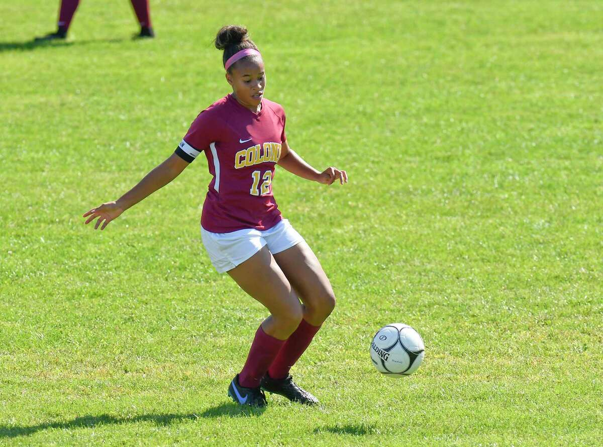 Colonie's Ianah Mackey (12) during a Section II girls' soccer game against Guilderland in Colonie, N.Y., Saturday, Sept. 21, 2019. (Hans Pennink / Special to the Times Union)