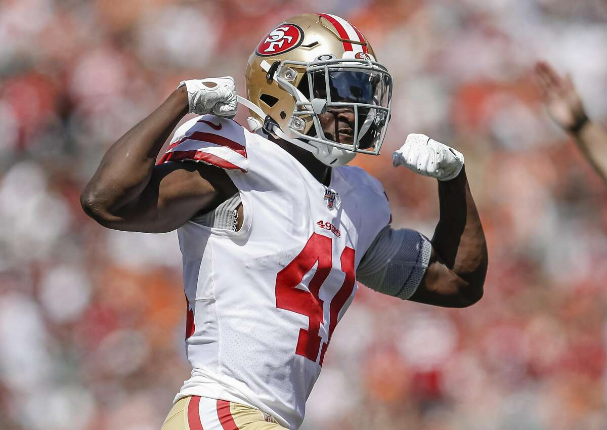 CINCINNATI, OH - SEPTEMBER 15: Emmanuel Moseley #41 of the San Francisco 49ers reacts after a defensive play during the first half against the Cincinnati Bengals at Paul Brown Stadium on September 15, 2019 in Cincinnati, Ohio. (Photo by Michael Hickey/Getty Images)
