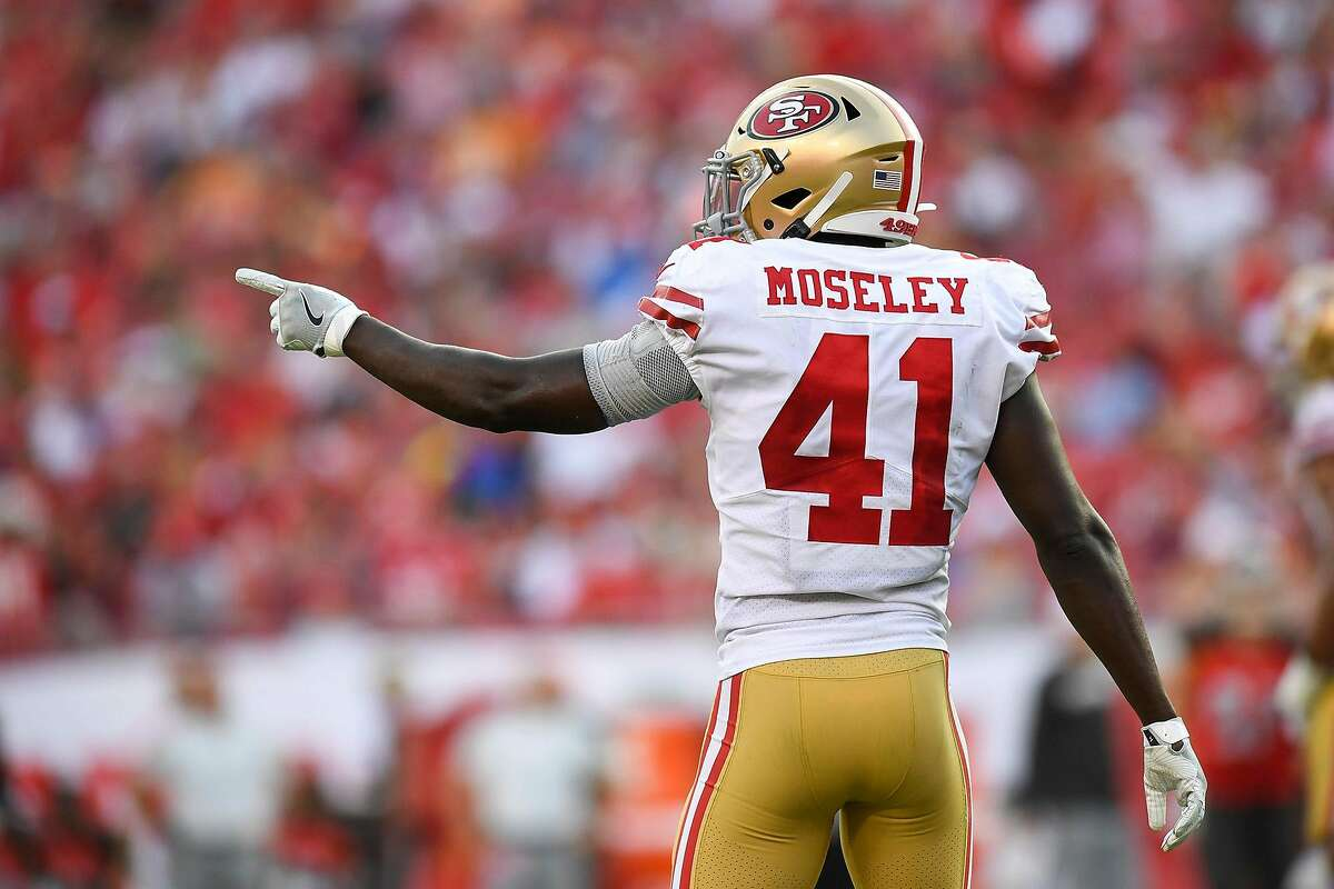 San Francisco 49ers defensive back Emmanuel Moseley (41) celebrates after an interception in the fourth quarter against the Tampa Bay Buccaneers on Sunday, Sept. 8, 2019 at Raymond James Stadium in Tampa, Fla. (Allie Goulding/Tampa Bay Times/TNS)