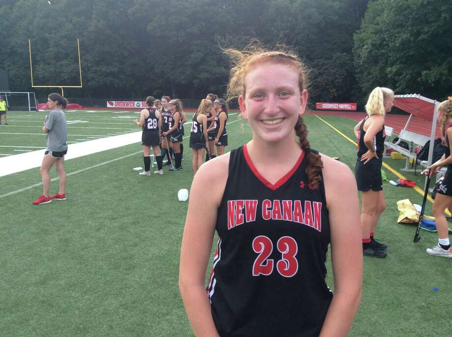 Molly Mitchell scored two goals in the New Canaan field hockey team's 4-2 win over Greenwich on Monday, September 23, 2019, in Greenwich. Photo: David Fierro /Hearst Connecticut Media