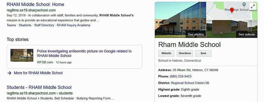 State Police are trying to figure out how an anti-Semitic photo popped up on a Google search connected with RHAM Middle School, according to WFSB.  Photo: Google