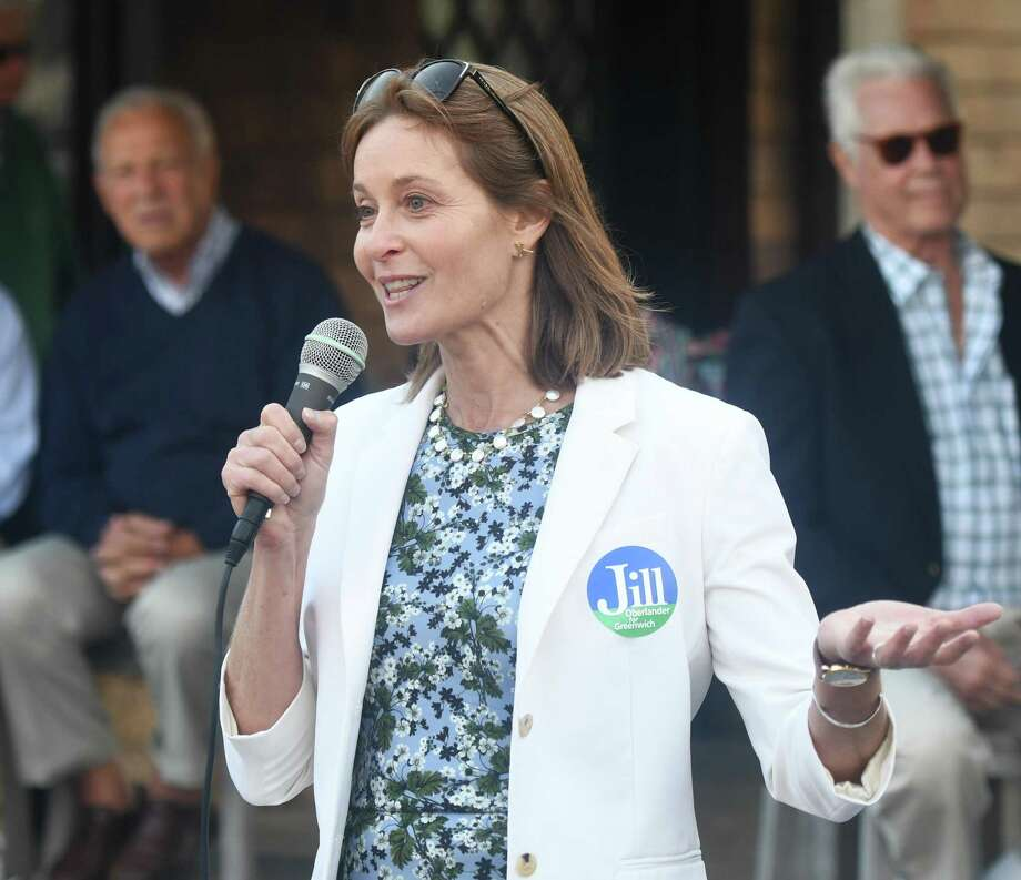 Democratic candidate for First Selectman Jill Oberlander speaks during the candidate forum at Greenwich Point Park in Old Greenwich, Conn. Monday, Sept. 9, 2019. Photo: File / Tyler Sizemore / Hearst Connecticut Media / Greenwich Time