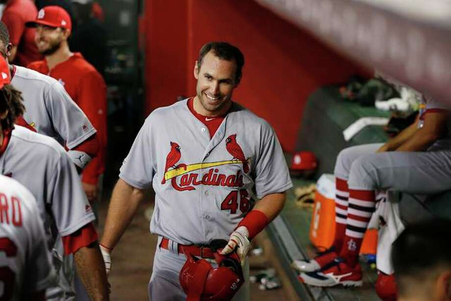 Cardinals' Paul Goldschmidt smiles in the dugout after hitting a home run against the Diamondbacks in the third inning Monday in Phoenix. Photo: Associated Press