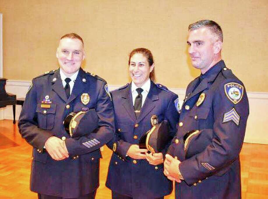 Darien Police recently held a ceremony to make recent promotions official — including Robert Shreders to the rank of Captain, Alison Hudyma to the rank of Lieutenant, and James Palmieri to the rank of Sergeant. Photo: Darien Police Department