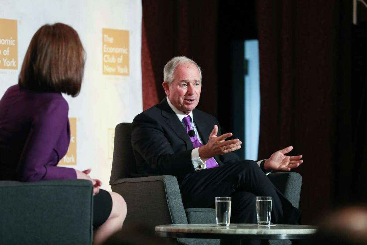 """Stephen Schwarzman, co-founder and chief executive officer of Blackstone Group Inc., speaks during an event at the Economic Club of New York in New York, U.S., on Wednesday, Sept. 18, 2019. Schwarzmansaid he was puzzled by the high valuation ofWeWork, comparing it to a similar company thatBlackstone Group Inc.owned that was """"worth a few billion dollars."""" Photographer: Bess Adler/Bloomberg"""
