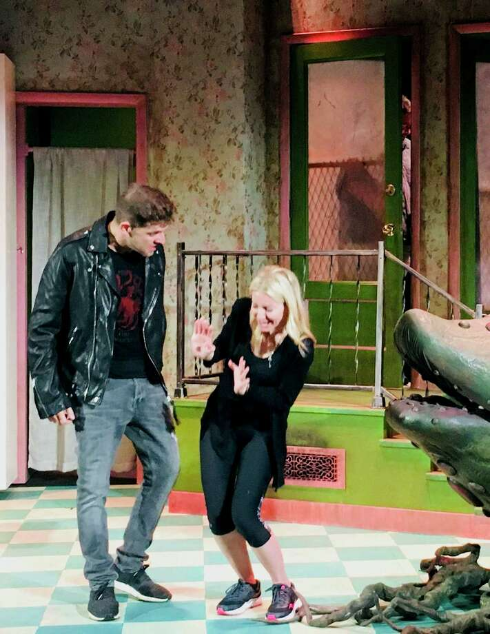 "Daniel C. Levine and Laura Woyasz rehearse for ""Little Shop of Horrors,"" onstage at ACT (A Contemporary Theatre) of Connecticut, in Ridgefield, Oct. 3 through Nov. 3. Photo: ACT Of Connecticut / Contributed Photo"