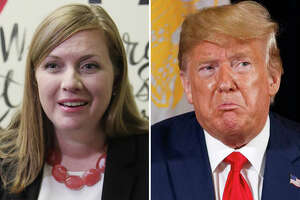 U.S. Rep. Lizzie Fletcher and President Donald Trump are pictured together in this composite photo.
