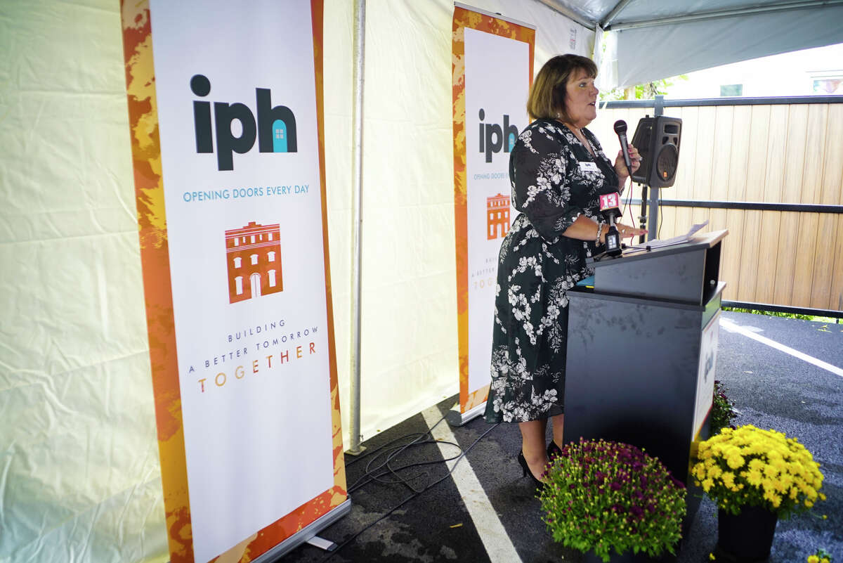 Janine Robitaille, executive director of IPH, speaks at a ribbon cutting event for two new IPH facilities, Health Connections Sponsored by MVP Healthcare and the Hoffman Family Center, both on Sheridan Ave., on Tuesday, Sept. 24, 2019, in Albany, N.Y. (Paul Buckowski/Times Union)