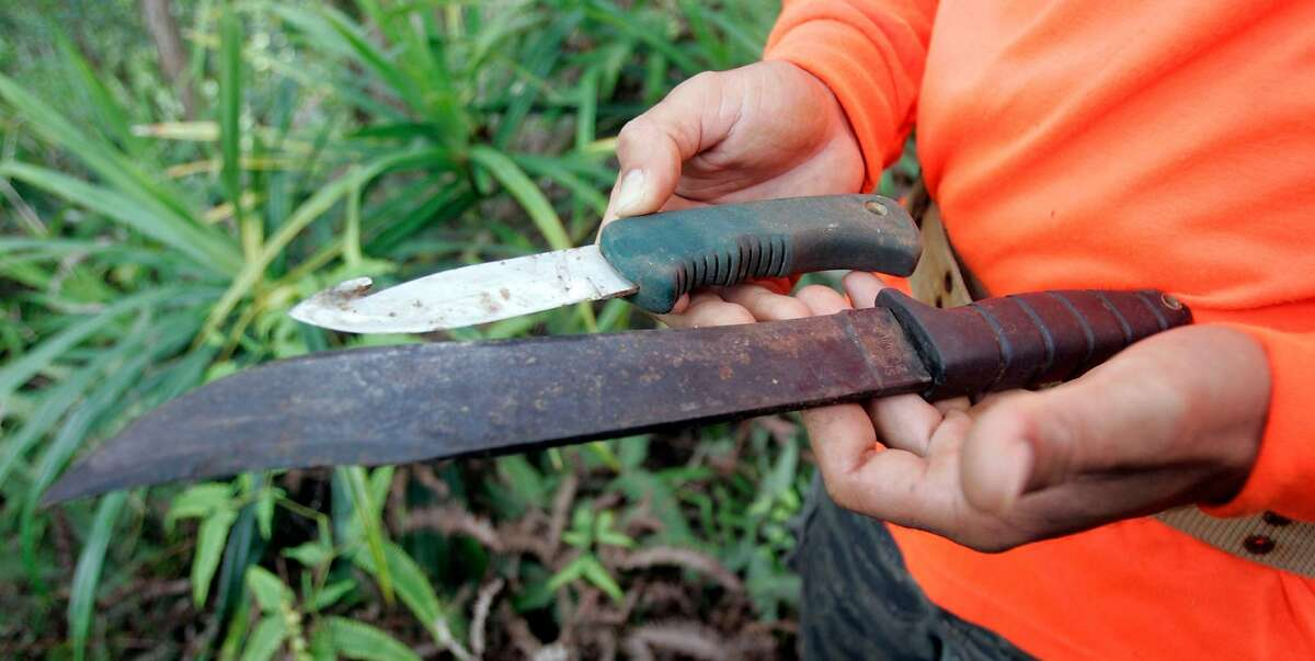 PIGHUNT_122.jpg_ Paka Omellas shows off his two knives, including one made from a lawn mower blade. Omellas and his 14-year-old cousin Cody Yamtao hunt for wild pigs along Kauai's Kuilau ridge Trail outside kapa�a Hawaii, on Kauai's East coast. By Lance Iversen/San Francisco Chronicle Ran on: 07-07-2005 Paka Omellas (wearing orange) and his 14-year-old cousin Cody Yamtao hunt for wild pigs along Kauais Kuilau Ridge Trail on the islands east coast. Ran on: 07-07-2005 Paka Omellas (wearing orange) and his 14-year-old cousin Cody Yamtao hunt for wild pigs along Kauais Kuilau Ridge Trail on the islands east coast.