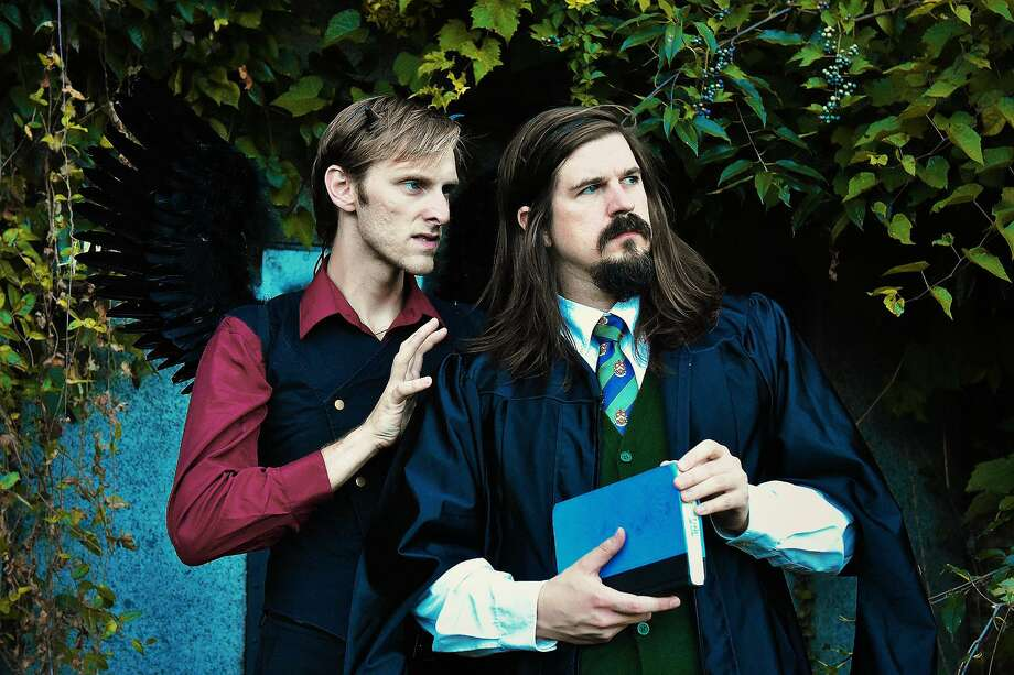 """Mephistopheles (Sean P. McCullough, left) and Doctor Faustus (Zach Hendrickson) strike up a bargain in """"Doctor Faustus"""" on stage at the Stratford Library on October 12 at 2 pm. Photo: / / Copyright 2019. All rights reserved."""