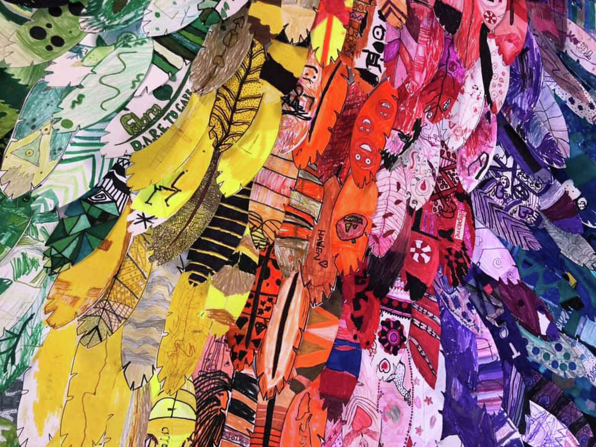 A close up of some of the student-created wings that is part of a huge display at the Fabra Elementary School campus.