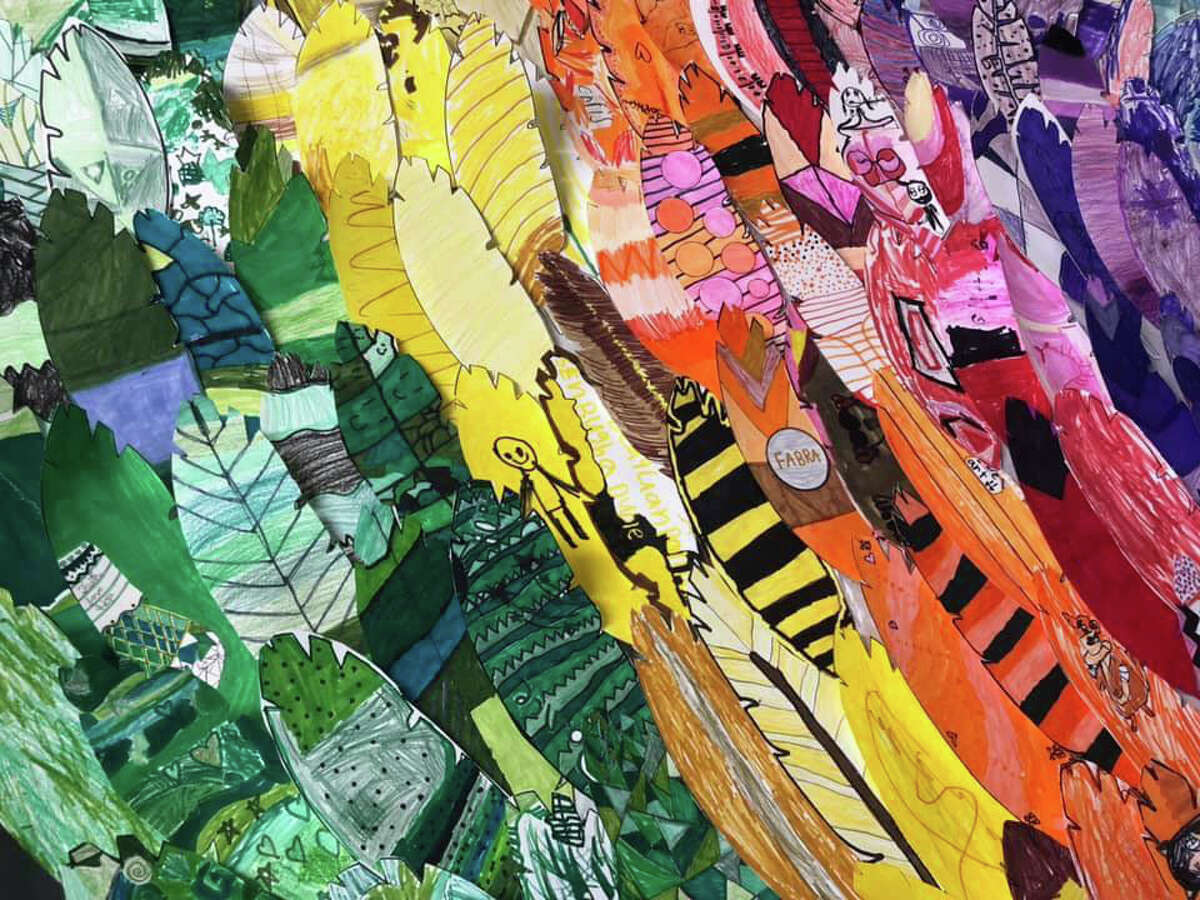 A close up of some of the student-created winged mural that is part of a huge display at the Fabra Elementary School campus.