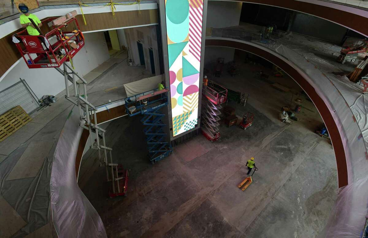 Brookfield Properties construction workers continue the build out of the SoNo Collection mall Tuesday, September 24, 2019, in Norwalk, Conn. The project is on schedule with its opening in October.