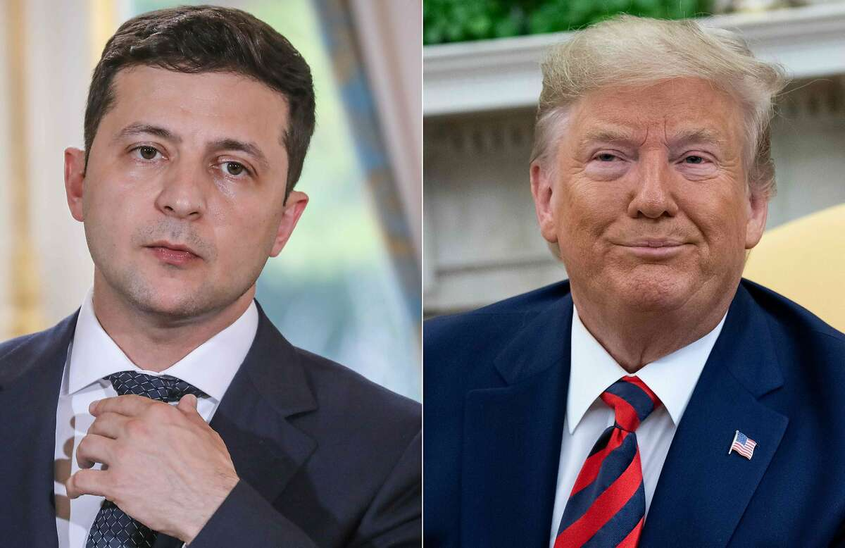 """(COMBO) This combination of pictures created on September 24, 2019 shows Ukraine's President Volodymyr Zelensky in June 17, 2019 in Paris, and US President Donald Trump during a meeting in the Oval Office at the White House in Washington, DC, September 20, 2019. - US President Donald Trump said on September 24, 2019, he will release the """"fully declassified"""" transcript of a controversial call with Ukraine's president which is fueling Democratic calls for his impeachment. """"I am currently at the United Nations representing our Country, but have authorized the release tomorrow of the complete, fully declassified and unredacted transcript of my phone conversation with President Zelensky of Ukraine,"""" Trump tweeted."""