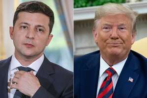 "(COMBO) This combination of pictures created on September 24, 2019 shows Ukraine's President Volodymyr Zelensky in June 17, 2019 in Paris, and US President Donald Trump during a meeting in the Oval Office at the White House in Washington, DC, September 20, 2019. - US President Donald Trump said on September 24, 2019, he will release the ""fully declassified"" transcript of a controversial call with Ukraine's president which is fueling Democratic calls for his impeachment. ""I am currently at the United Nations representing our Country, but have authorized the release tomorrow of the complete, fully declassified and unredacted transcript of my phone conversation with President Zelensky of Ukraine,"" Trump tweeted."