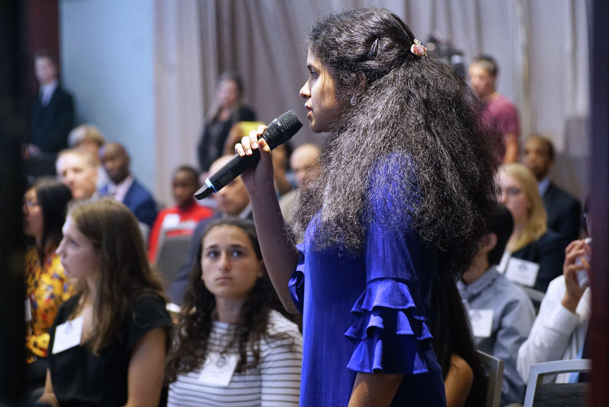 Student Nithya Chockalingam from Shenendehowa High School asks a question at the 19th annual Albany Medical Center Prize on Tuesday, Sept. 24, 2019, in Albany, N.Y. This years recipients were Dr. Bert Vogelstein of Johns Hopkins University and Howard Hughes Medical Institute and Dr. Irving Weissman of Stanford University, who were awarded the prize for their cancer research. (Paul Buckowski/Times Union)