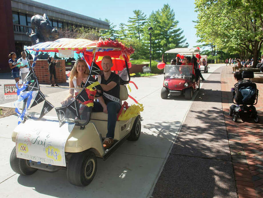 Golf carts, decorated with balloons and bedazzle, circled the campus at Southern Illinois University Edwardsville as part of Homecoming Week festivities. Other planned events include a chalk mural contest, Cosmic Cougar Bowling, a chili cook-off, laser tag, outdoor yoga, a bonfire and the Hall of Fame Dinner.
