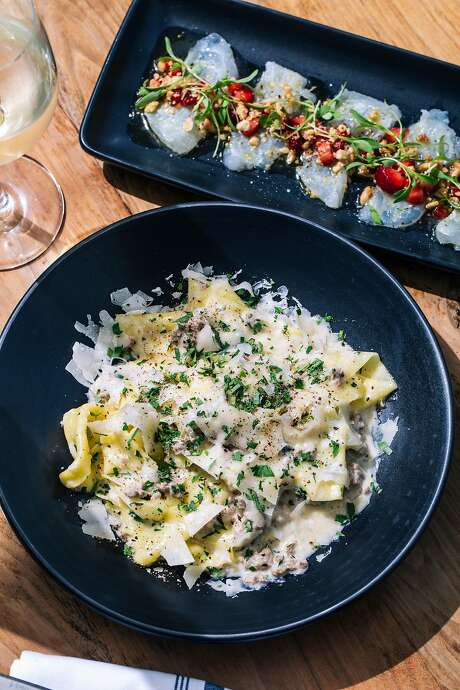 At Pearl 6101 in S.F.'s Outer Richmond, halibut crudo and handkerchief pasta. Photo: Stephen Lam / Special To The Chronicle