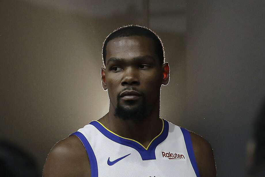 FILE - This is a Sept. 24, 2018, file photo showing then-Golden State Warriors' Kevin Durant posing for photos during media day at the NBA basketball team's practice facility in Oakland, Calif. Photo: Jeff Chiu, Associated Press