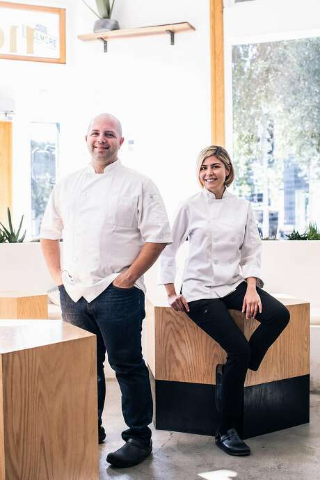 Sayat and Laura Ozyilmaz, owners and executive chefs of Noosh, their restaurant in San Francisco. Photo: Stephen Lam / Special To The Chronicle