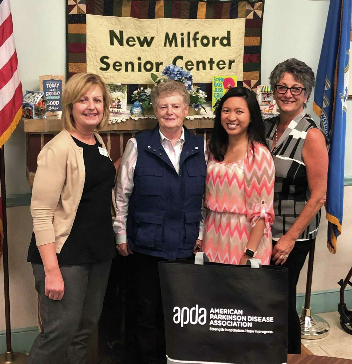 Bridgewater Municipal Agent Dawn MacNutt, second from left, will lead the new Parkinson's Support Group at the New Milford Senior Center. She is shown with, from left to right, Susan Lather, information and referral coordinator for the American Parkinson's Disease Association in Connecticut, senior center Program Coordinator and Assistant Director Jasmin Ducusin and Director Carolyn Haglund.