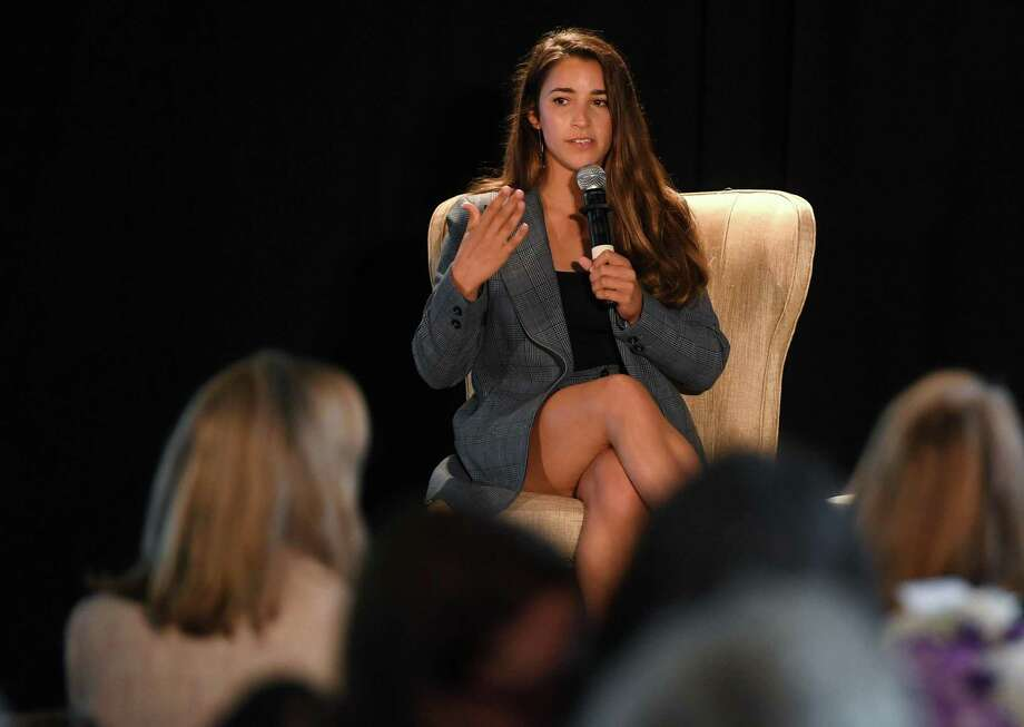 Gold medal winning Olympic gymnast and sexual abuse survivor Aly Raisman shares her advocacy to help eradicate sexual abuse in youth sports as the keynote guest of The Center for Family Justice's annual Speaking of Women event at The Waterview in Monroe, Conn. on Tuesday, September 24, 2019. Photo: Brian Pounds / Hearst Connecticut Media / Connecticut Post