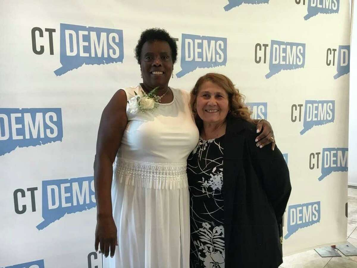 Bridgeport Democrat Wanda Geter-Pataky, who was honored Sunday, Sept. 22, 2019 at the 2019 Ella T. Grasso Women's Leadership Brunch, poses with fellow Democrat and Bridgeport City Clerk Lydia Martinez.