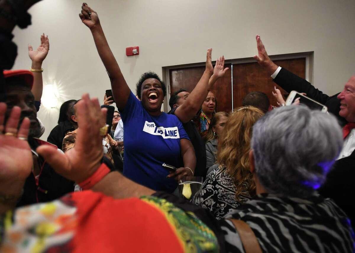 Wanda Geter-Pataky celebrates with fellow Ganim supporters on the announcement of Bridgeport Mayor Joe Ganim's victory in the Bridgeport Democratic mayoral primary at Testo's Restaurant in Bridgeport, Conn. on Tuesday, September 10, 2019.