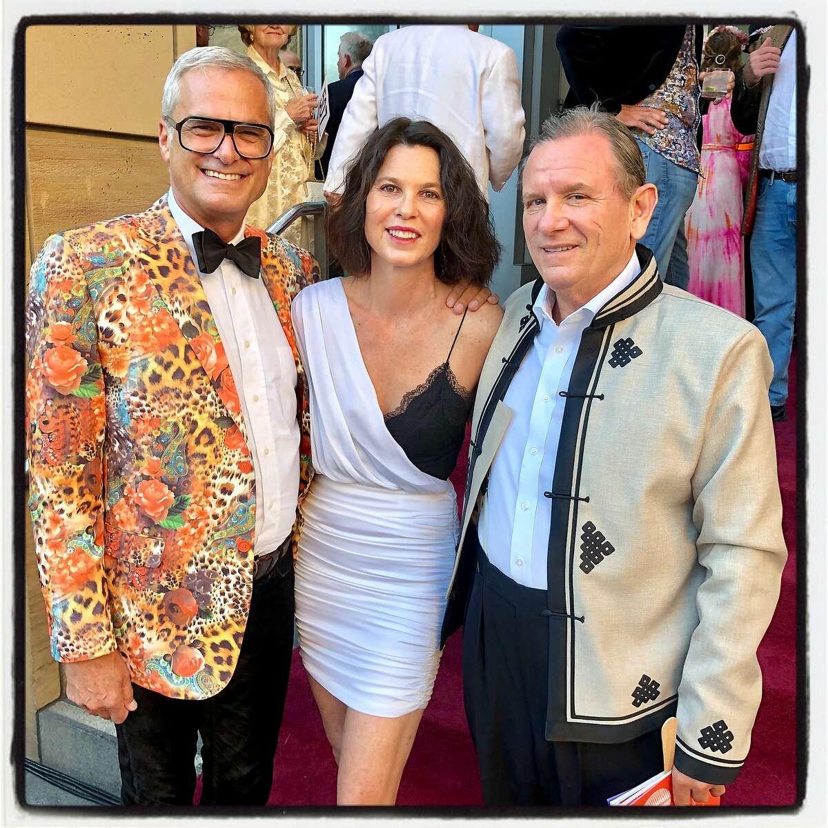 San Jose Museum of Art gala-goers (from left) Mark Ritchie, SF Arts Commission chairman Dorka Keehn and Joe Tobin. Sept. 21, 2019.