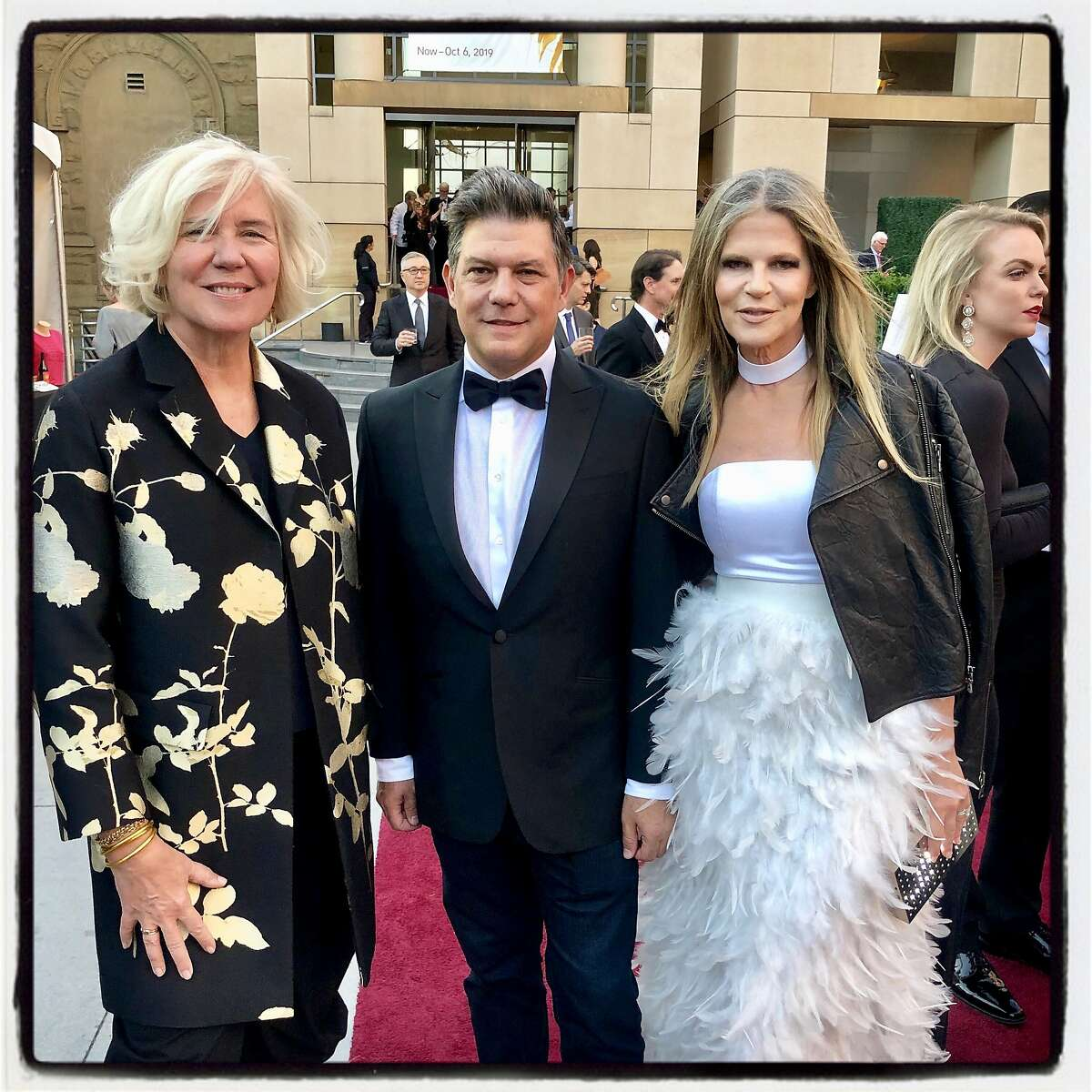 San Jose Museum of Art Executive Director Sayre Patton (left) with gala honoree Leo Villareal and his, Yvonne Force Villareal. Sept. 21, 2019.