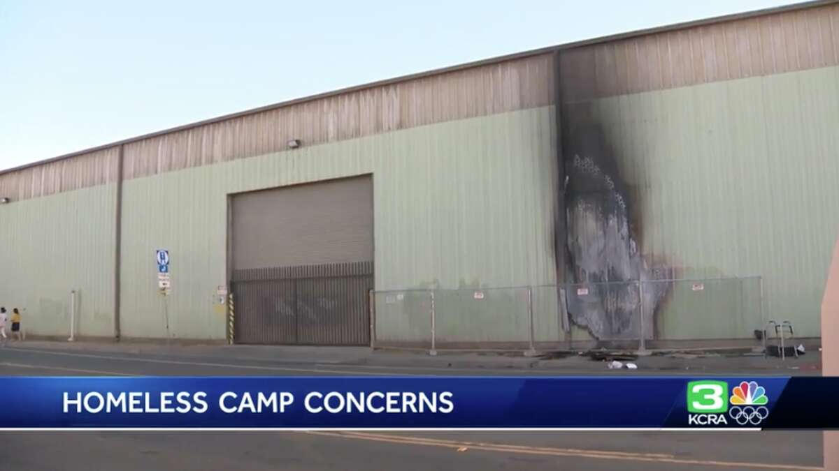 A fire broke out outside the Pipeworks rock climbing gym in Sacramento in Sept. 2019.