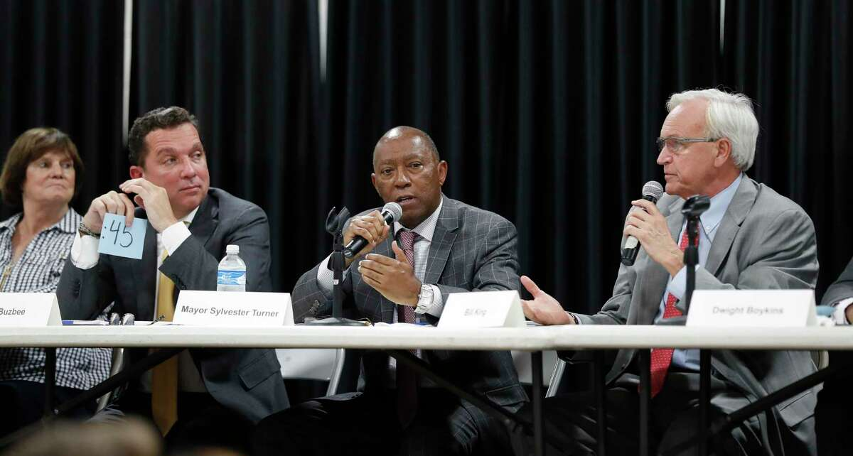 From left, former Houston city councilwoman Sue Lovell, businessman and lawyer Tony Buzbee, Mayor Sylvester Turner and Bill King at a Sept. 3 candidate forum earlier this month.
