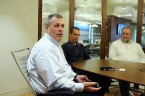 Rick DeReinzi discusses the transition from military life to the civilian workforce inside the United Rentals office at First Stamford Place in Stamford, Conn. on Wednesday, Nov. 8, 2017.