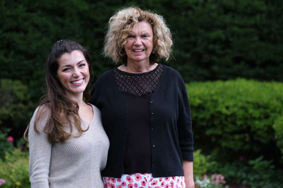 Anush Avetisyan (left), new director of Children's Music and Drama. Avetisyan at the Congregational Church of New Canan, greets Director of Music Ministries Dr. Jo Deen Blaine Davis. Photo: Contributed Photo / Congregational Church / New Canaan Advertiser Contributed