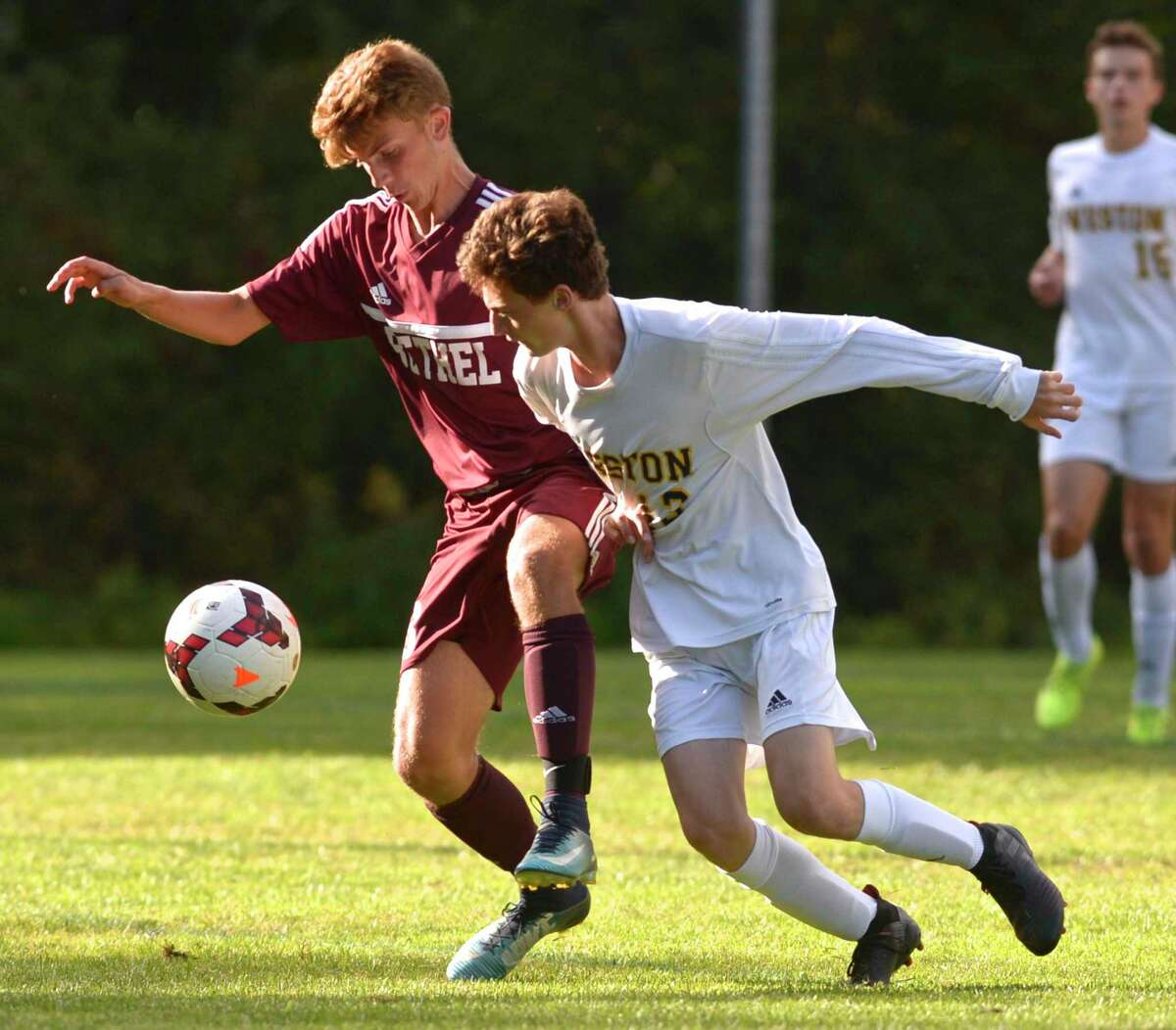 Boys soccer game between Weston and Bethel high schools, Tuesday, September 24, 2019, at Rourke Field, Bethel, Conn.