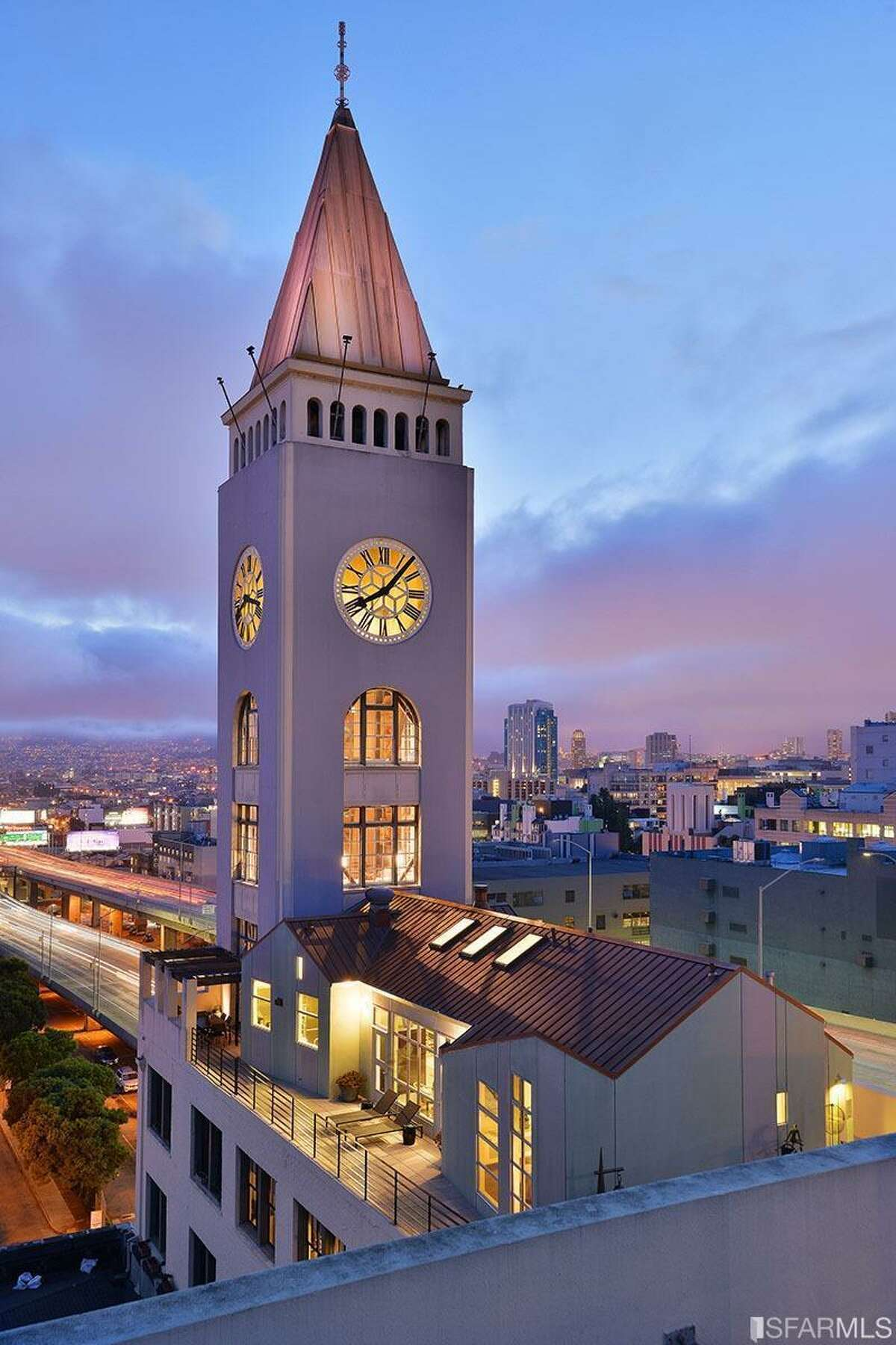 The penthouse comes with exclusive rights to the wraparound deck and the three-story clock tower.