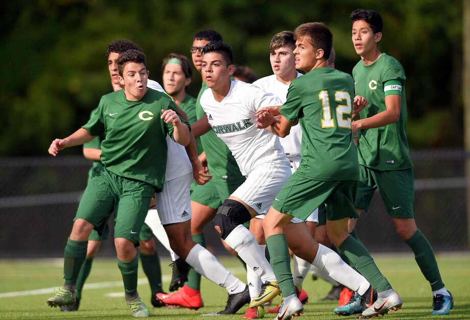 Norwalk defeated Trinity Catholic 8-0 in a varsity boys soccer game at Gaglio Field in Stamford, Conn. on Sept. 24, 2019. Photo: Matthew Brown / Hearst Connecticut Media / Stamford Advocate