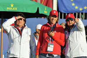 Solheim Cup Team USA captain Juli Inkster, center, and vice-captains, Nancy Lopez, left, and Pat Hurst watch players in the first fairway from the first tee box on Friday, Sept. 13, 2019, at Gleneagles, Scotland. Inkster finished 2-1 as a captain for the U.S. Team with the loss to Team Europe in the 2019 Solheim Cup. (Joyce Bassett / Times Union)