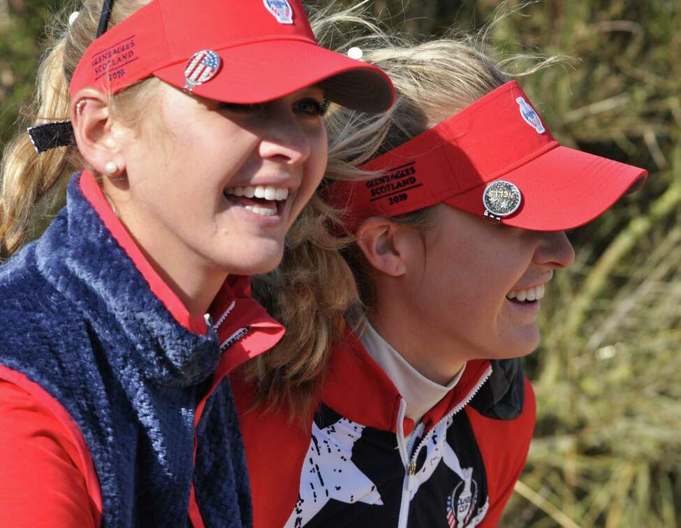 Jessica Korda, left, and her sister Nelly had a 2019 Solheim Cup tournament to remember, teaming up for Friday, Sept. 13, 2019, and Saturday Foursomes competition at Gleneagles, Scotland. They both led Team USA with a 3-0-1 records, winning foursomes and singles and halving Friday fourballs. (Joyce Bassett / Times Union)