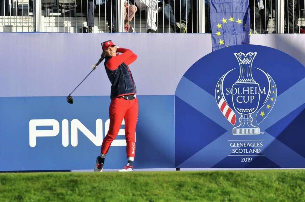 Jessica Korda of Solheim Cup Team USA went undefeated with a record of 3-0-1 during the three-day tournament. Korda tees off on the first tee playing Friday Foursomes on Sept. 13, 2019 with her sister, Nelly Korda. The pair won the match over Caroline Masson and Jodi Ewart Shadoff of Team Europe. (Joyce Bassett / Times Union)