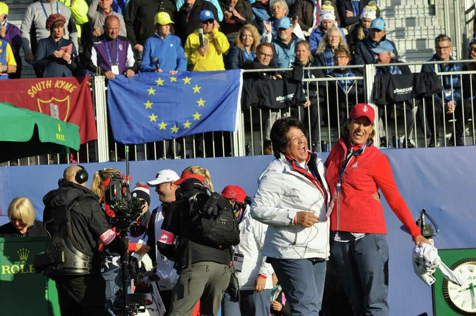 Solheim Cup Team USA captain Juli Inkster, right, and vice-captain Nancy Lopez share a laugh during the first tee celebration on Friday, Sept. 13, 2019, at Gleneagles, Scotland. Inkster finished with a record of 2-1 as a captain for the U.S. Team with the loss to Team Europe in the 2019 Solheim Cup. (Joyce Bassett / Times Union)