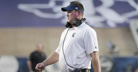 Rice head coach Mike Bloomgren during the first half of an NCAA college football game against Wake Forest Friday, Sept. 6, 2019, in Houston. (AP Photo/Michael Wyke)