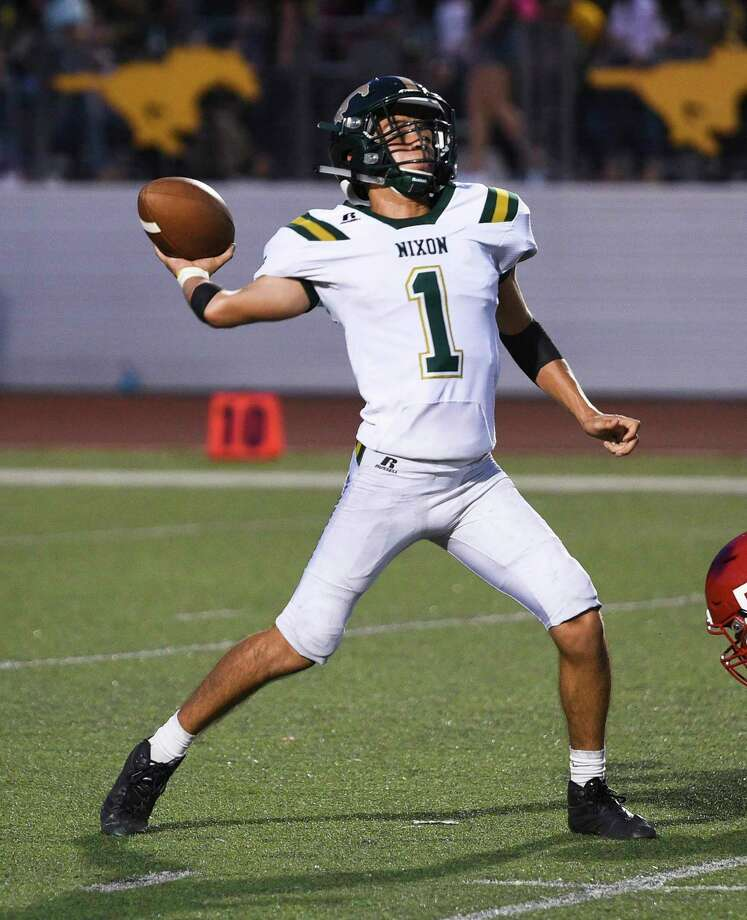 Austin Garcia hasn't been just an athlete in the run-heavy Slot-T offense, the Nixon QB has shown an ability to throw the ball as well for a 4-0 Mustangs squad. Photo: Danny Zaragoza / Laredo Morning Times