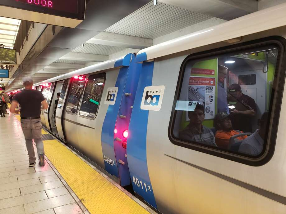 FILE -- Commuters ride in one of the BART Fleet of the Future cars on Sept. 24, 2019. Photo: Trish Gervasio