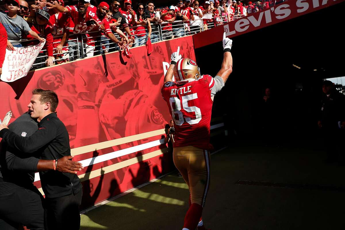 San Francisco 49ers' George Kittle celebrates after Niners' 24-20 win over Pittsburgh Steelers in NFL game at Levi's Stadium in Santa Clara, Calif., on Sunday, September 22, 2019.