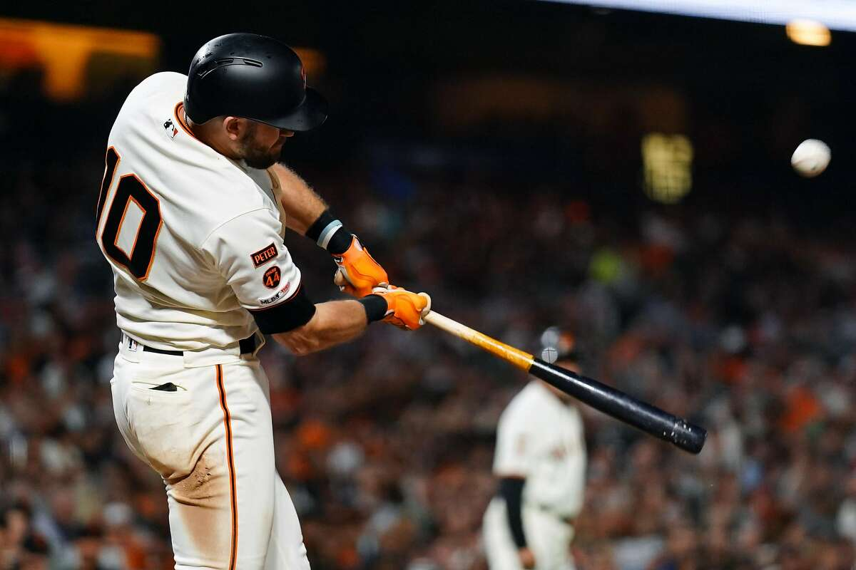 SAN FRANCISCO, CALIFORNIA - SEPTEMBER 24: Evan Longoria #10 of the San Francisco Giants hits an RBI sacrifice fly during the fifth inning against the Colorado Rockies at Oracle Park on September 24, 2019 in San Francisco, California. (Photo by Daniel Shirey/Getty Images)