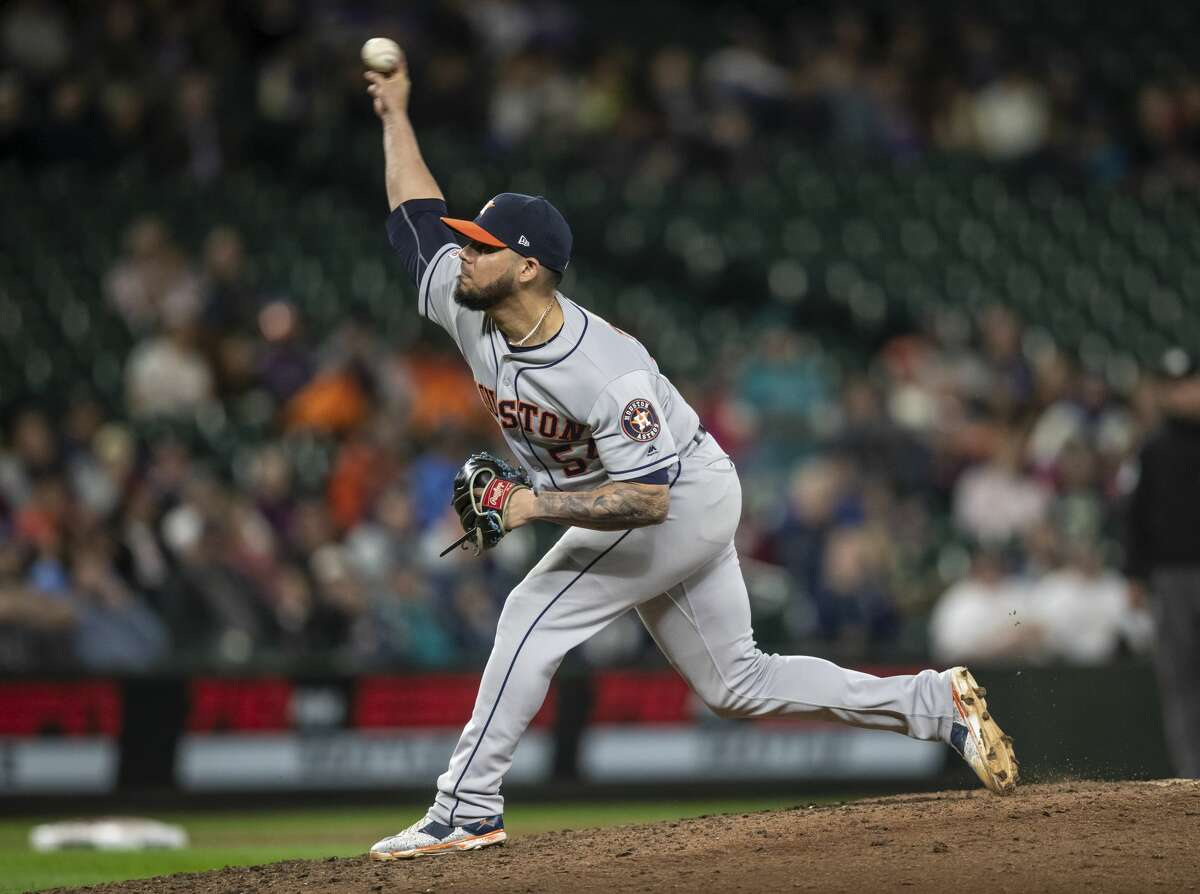 SEATTLE, WA - SEPTEMBER 24: Reliever Roberto Osuna #54 of the Houston Astros delivers a pitch during the ninth inning of a game against the Seattle Mariners at T-Mobile Park on September 24, 2019 in Seattle, Washington. The Astros won 3-0. (Photo by Stephen Brashear/Getty Images)