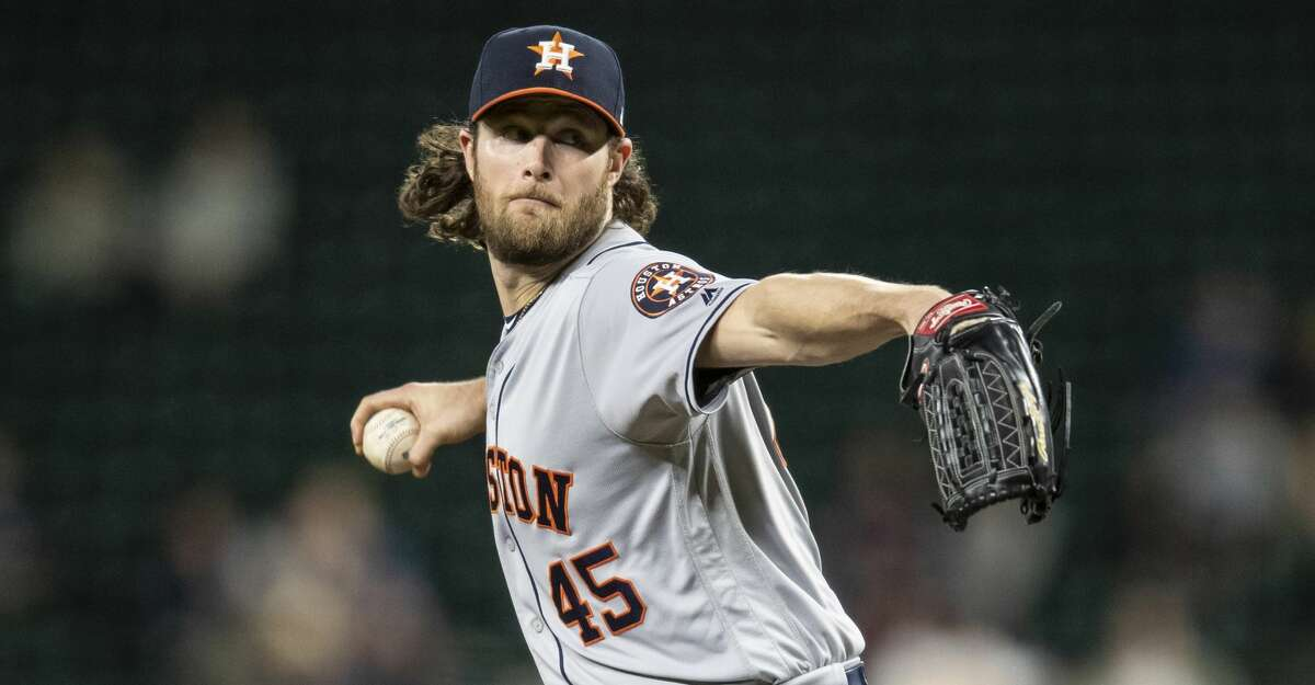 SEATTLE, WA - SEPTEMBER 24: Starter Gerrit Cole #45 of the Houston Astros delivers a pitch during the second inning of a game against the Seattle Marinersat T-Mobile Park on September 24, 2019 in Seattle, Washington. (Photo by Stephen Brashear/Getty Images)