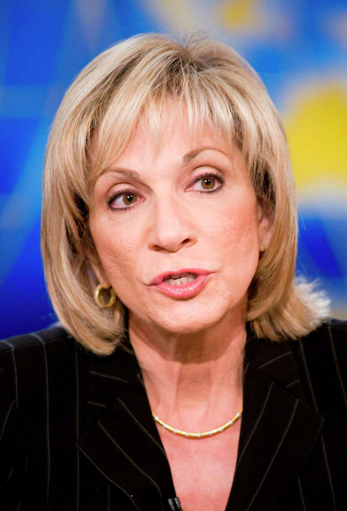 Andrea Mitchell, of NBC News, speaks during a live taping of